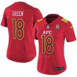 Camiseta AFC Green Rojo 2017 Pro Bowl NFL Mujer