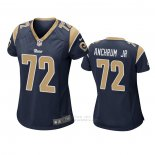 Camiseta NFL Game Mujer Los Angles Rams 72 Tremayne Anchrum Jr. Azul