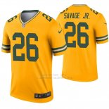 Camiseta NFL Legend Hombre Verde Bay Packers 26 Darnell Savage Jr. Inverted Oro