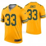 Camiseta NFL Legend Hombre Verde Bay Packers 33 Aaron Jones Inverted Oro